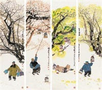 四时生活图 (4 works) by ma haifang
