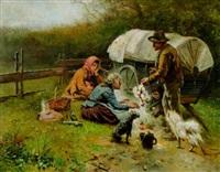 rastende zigeuner auf einer wiese bei ihrem planwagen vor einer feuerstelle by hermann lindenschmit