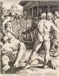 der zweikampf von odysseus und irus by jan harmensz muller