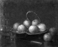 stilleben mit äpfeln auf einer schale by eugene peycelon