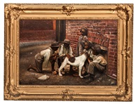 african american genre scene with boys and dog by john george brown