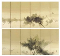 sparrows and pines (pair in 12 parts) by kako tsuji