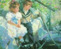 children in a hammock by yuri krotov