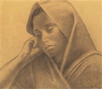 young woman in shawl by enrique alferez