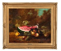 still life with watermelon and butterfly by william henry hilliard