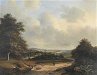 sommerliche landschaft mit dorf und figurenstaffage by cornelis marinus willem mongers