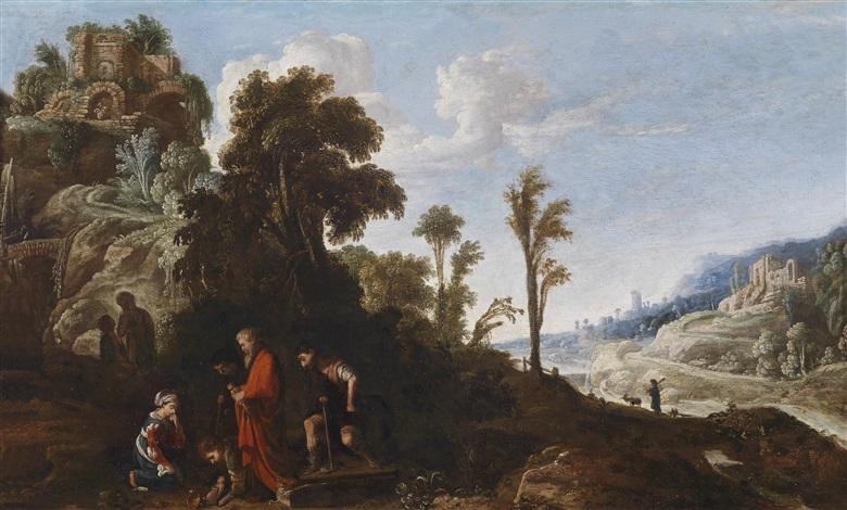 weite bewaldete landschaft mit hochgelegenem kastell und biblischer staffage by david teniers the elder