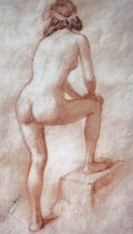 an einer stufe stehender weiblicher rückenakt by ludwig (hofmann-zeitz) hofmann