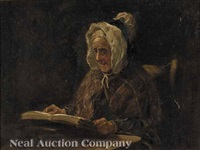 portrait of an elderly woman reading by norman m. macdougall