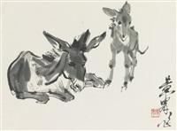 two donkeys by huang zhou