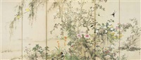 birds and flowers in autumn (in 6 parts) by yamamoto baiitsu