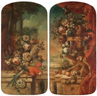 still life with birds and flowers (pair) by pieter casteels iii