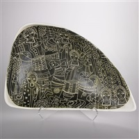 tray with incised figures on olive ground by marcello fantoni