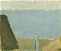 landscape with person and view to the sea by johannes hofmeister