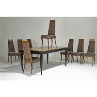 dining table and eight chairs (9 works) by maurice bailey