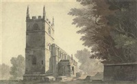 the south-western aspect of belton church, lincolnshire by john claude nattes