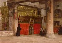 blick in die geburtskirche in bethlehem mit gläubigen und orthodoxem priester by georg macco
