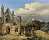 kirchhof mit jungem paar vor einem kreuz by charles caius renoux