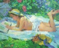 reading in the garden by yuri krotov