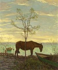 müdes pferd vor abendlicher bodenseelandschaft by hans dieter