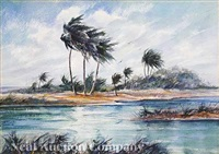 florida landscape (+ waterfront scene, verso) by james a. camlin