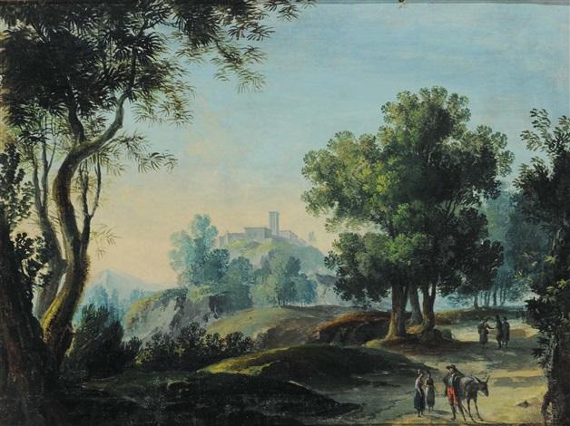 paesaggio con castello e viandanti by cornelis de wael