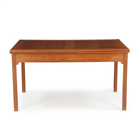 A Cuban Mahogany Dining Table With Extension Leaves Underneath Top By Kaare Klint