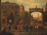 figures outside the city gate by cornelis de wael