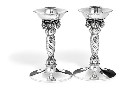 A Pair Of Sterling Silver Candlesticks With G By Georg Jensen