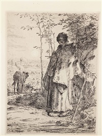 the large shepherdess in der platte signiert: j. f. millet by jean françois millet