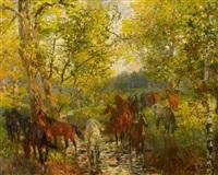 pferde im herbstwald by theodor rocholl