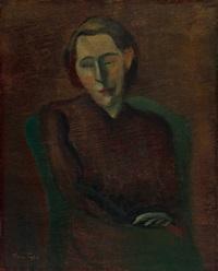 1940年代初 爱伦小姐画像 (portrait of miss ellen berland) by yun gee