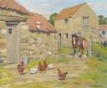 sunlit farmyard scene with a shire horse and foal by dorothy and elizabeth alderson