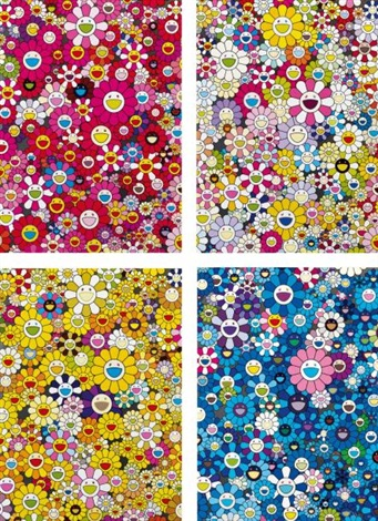 an hommage to ikb set of 4 by takashi murakami