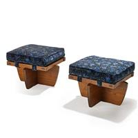 greenrock stools (pair) by mira nakashima-yarnall