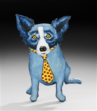 blue dog with polka-dotted tie (double-sided) by george rodrigue