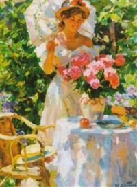 lady by flowers by yuri krotov