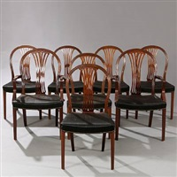 chairs, two with armrests (set of 8) by frits henningsen