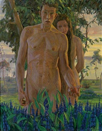 adam und eva, im hintergrund abendliche bodenseelandschaft by hans dieter