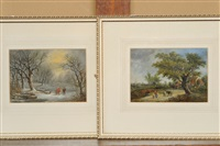 figures in a winter landscape (+ figures and a donkey in a summer landscape; pair) by robert burrows