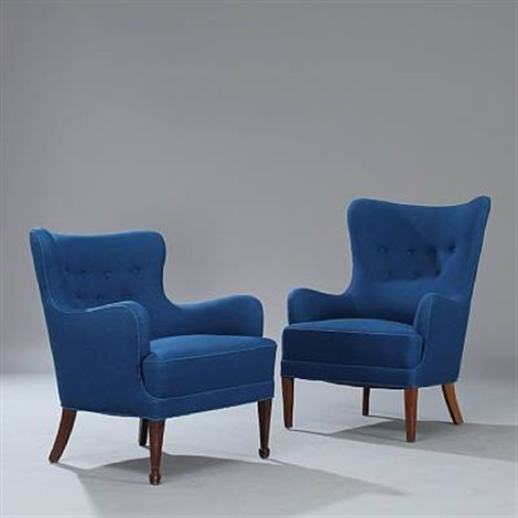 one high and one low back easy chair set of 2 by frits henningsen
