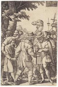 joseph wird an die kaufleute verkauft, pl. 3 (from die geschichte josephs) by georg pencz