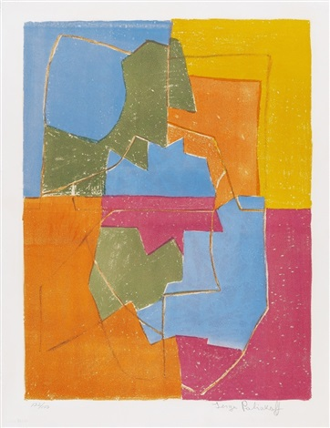 composition rouge verte bleue et jaune by serge poliakoff