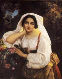 portrait of a maiden with flowers by wilhelm carl juncker