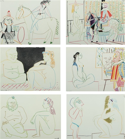 compositions with figures 6 works by pablo picasso
