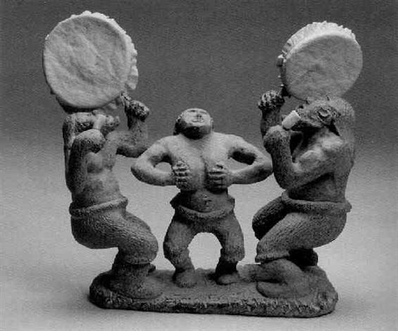 three inuit dancers by luke airut