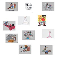 collection of 11 original drawings (11 works) by peder bundgaard
