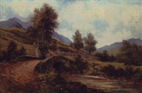 old roman road in hill country, with children idling by a stream by george hickin