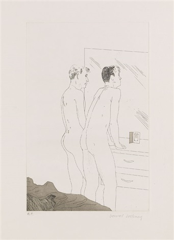 2 blätter: projects for the cavafy suite (2 works) by david hockney