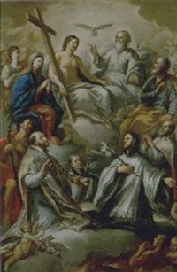 la trinità in gloria con la madonna, san giuseppe, san giovanni battista, sant'ignazio di loyola, san francesco saverio e sant'agostino by giuseppe mastroleo